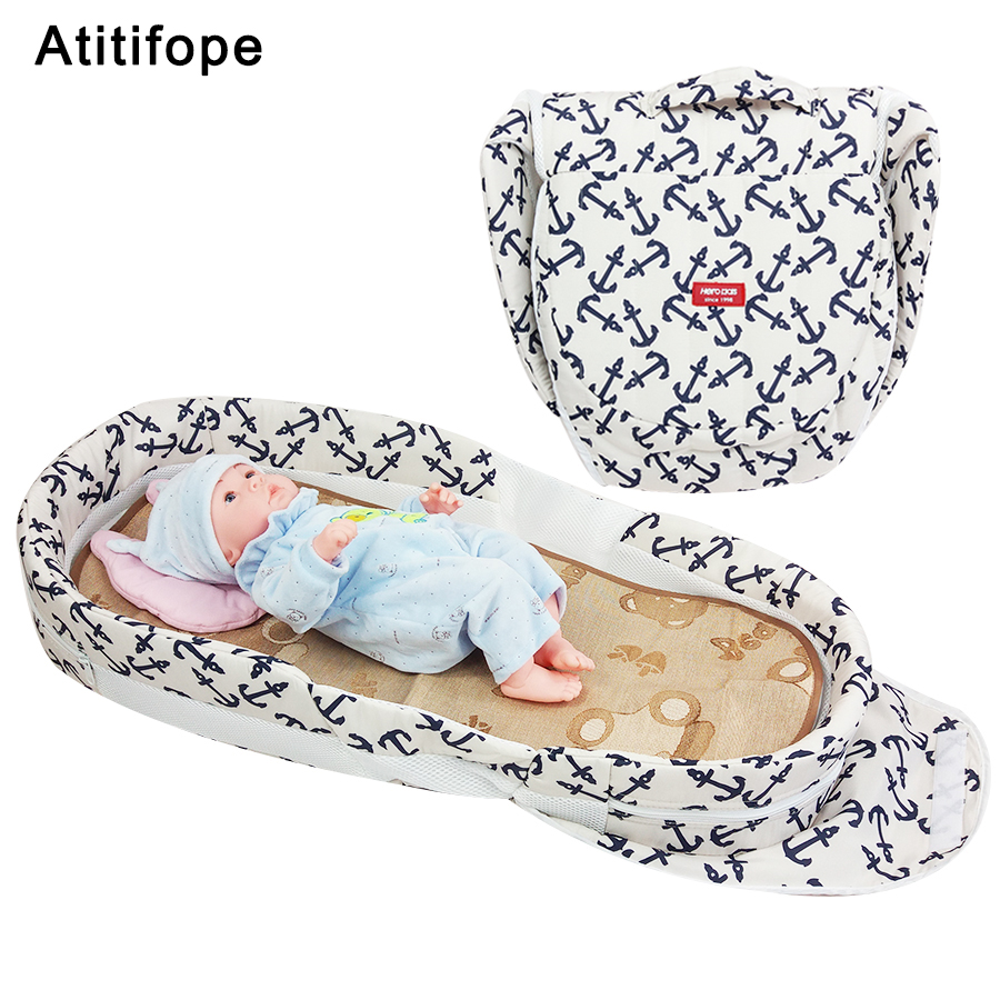 Individual anchor pattern baby bed folding bed thickening baby cradle folding portable crib baby travel bed with pillow Детская кроватка