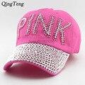 Tampas dos ganhos boné de beisebol das mulheres strass rosa ponto de diamante rosa letras snapback chapéus meninas chapéu de strass impressão denim casuais