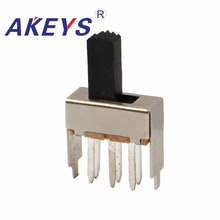 20PCS SS-22F17 2P2T Double pole double throw 2 position slide switch 6 solder lug pin verticle type with 2 fixed pin slide 6 cm double fader potentiometer b10k