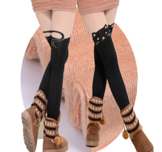 Princess sweet lolita pantyhose Winter Japanese kitten false thigh stockings Add hair thickening false high stockings tights