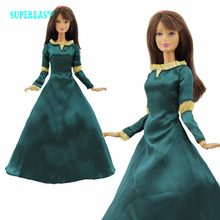 One Set Fairy Tale Princess Dress Copy Brave Merida Outfit Exotic Long sleeves Costume For Barbie Doll Clothes Cosplay Toy(China)