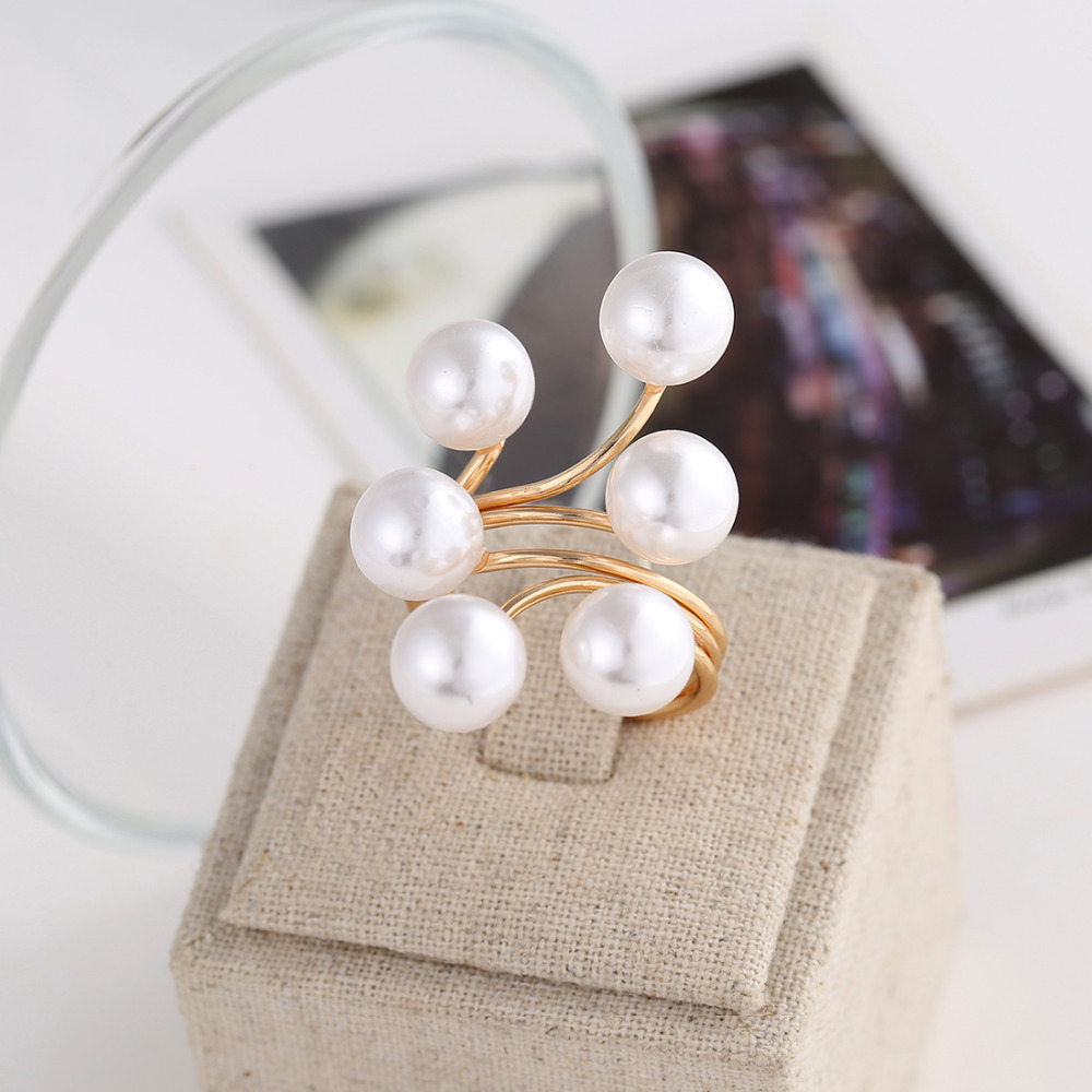 New Arrival Golden Plated Ring Fashion Elegant Imitation Pearl Adjustable Opening Rings For Women