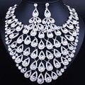 Luxo de Cristal Cheio de Strass Grande Forma Da Cauda do Pavão Colar Brincos set Clássico Indiano Conjuntos De Jóias de Noiva