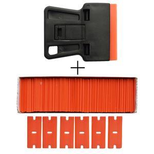Image 3 - Carbon Fiber Car Tools Vinyl Car Wrap Razor Scraper+100Pcs Plastic Razor Blade Cleaning Squeegee Glue Film Sticker Remover E17+