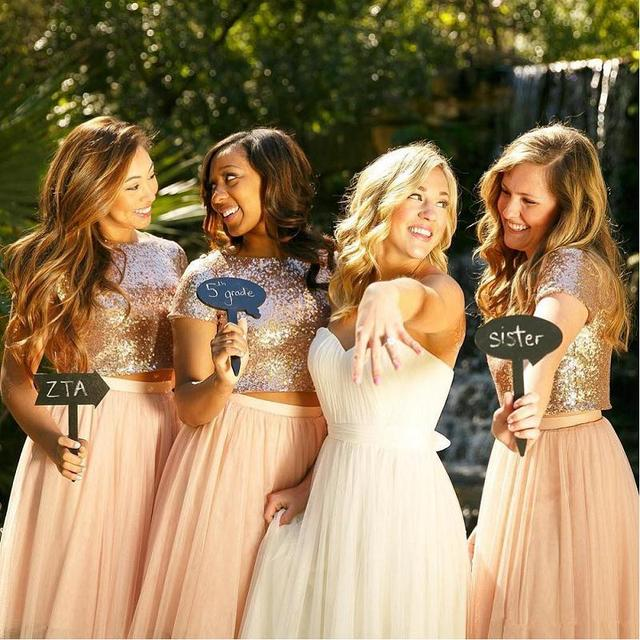 2017 Rose Gold Two Pieces Bridesmaid Dress Sequins Crop Tulle Beach Blush Pink Dresses