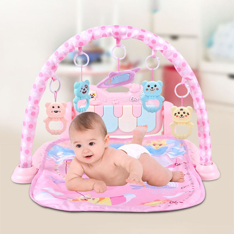 Baby Play Gym Kids Fitness Rack Piano Keyboard Blanket Rattles Toys Baby Gym Crawling Activity Mat Early Educational Gifts