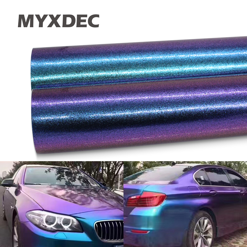 30cm Breit Perle Glänzend Chameleon Vinyl Aufkleber Lila Blau Vinyl Auto Wrap Film Mit Luftblase Styling Farbe- ändern Film