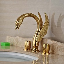 Luxury Golden Brass Bathroom Faucet Swan Spout Vanity Sink Mixer Tap