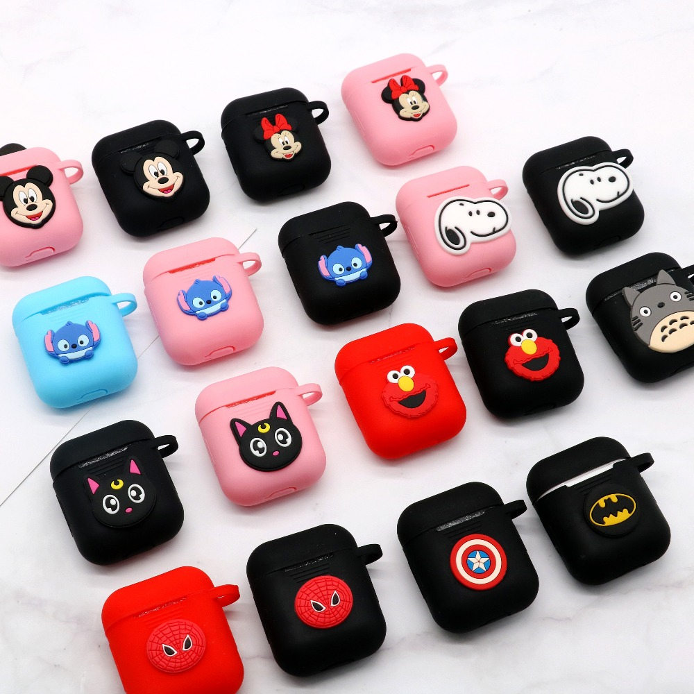 Cute Cartoon Bluetooth Wireless Earphone Case For Apple AirPods Silicone Charging Headphones Case for Air pods Protective Cover(China)