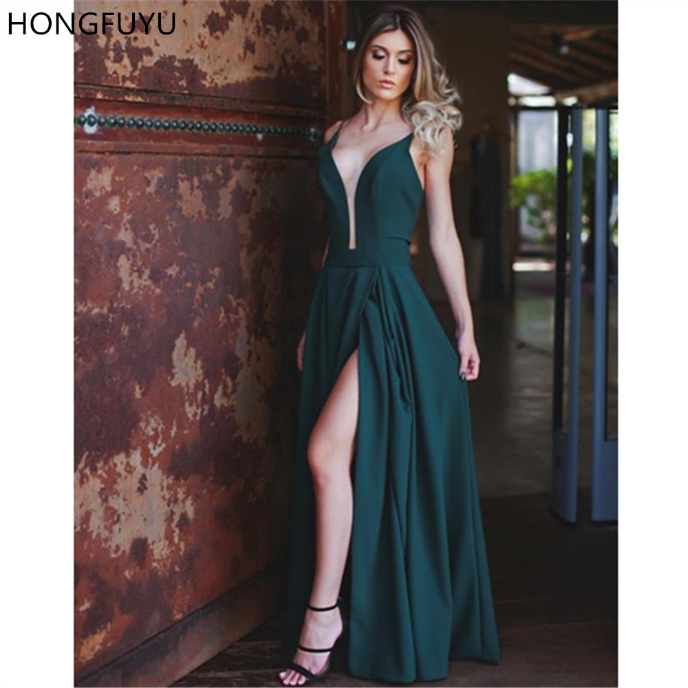 HONGFUYU 2020 Sexy Emerald Green Prom Dresses Plunging Deep V Neck Party Gowns with Slit Satin A-line Formal Long Evening Dress
