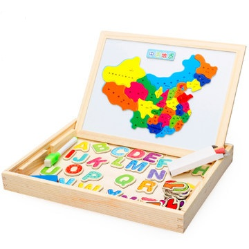 Kids Early educational toys for Children wooden Magnetic puzzle toy Montessori learning education child wood jigsaw toys W142 children s early childhood educational toys the bear change clothes play toys creative wooden jigsaw puzzle girls toys