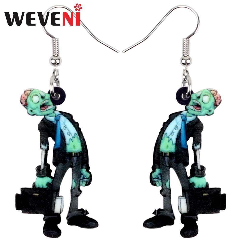 WEVENI Original Acrylic Halloween Office Worker Zombie Earrings Dangle Drop Fashion Party Jewelry For Women Girls Charms Brincos