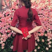 Lolita Black Red Slim Chinese Style Cheongsam Dress