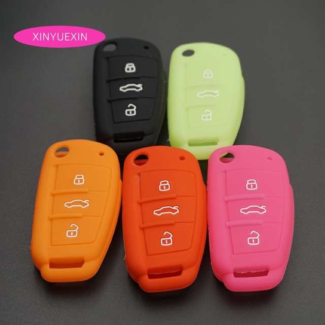 xinyuexin for audi silicone car key cover fob case for audi a1 a3 q3xinyuexin for audi silicone car key cover fob case for audi a1 a3 q3 q7 r8 a6l tt flip remote key jacket car stying