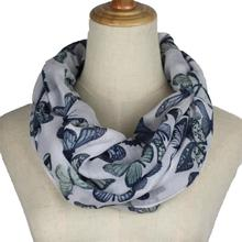 New women Infinity Scarf ring scarves Fashion butterfly flower printed loop Scarves Snood Shawl neckerchief