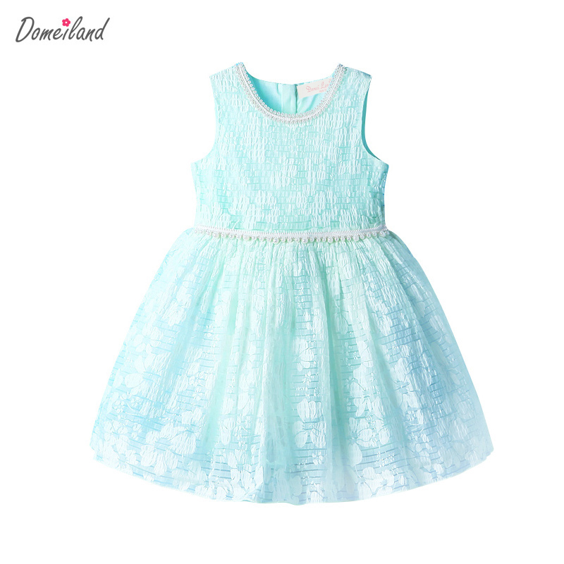 2017 Fashion summer Brand domeiland Children Clothes girl cotton pink Pearls bow sleeveless dress Princess Kid Party clothing