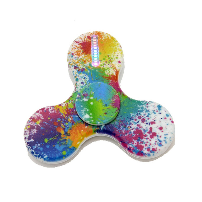 2017 New Hand Spinner LED Light Painted Tri Hand Spinner Triangle Finger EDC Toys Focus ADHD