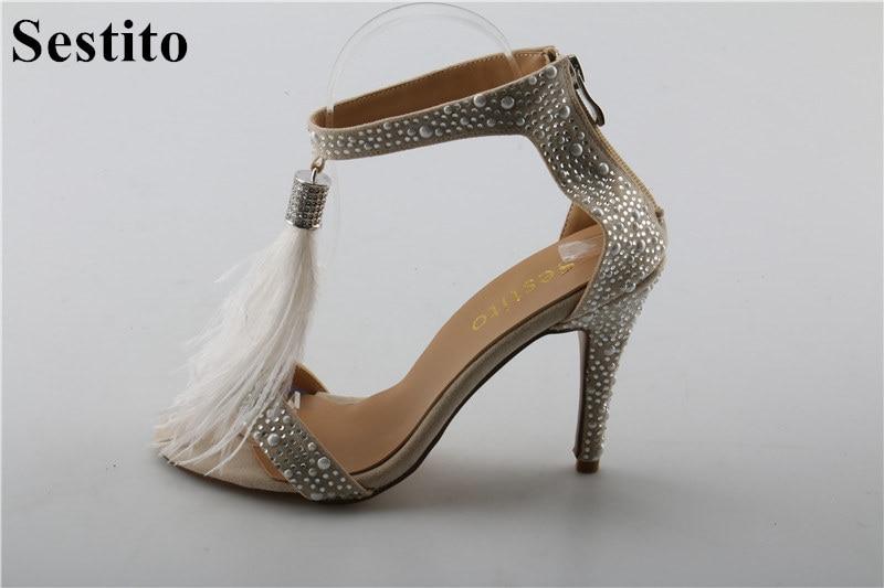 Sestito Girls Tassel Embellished Thin High Heels Dress Shoes For Ladies Luxury Rhinestone Gladiator Sandals Woman Cover Heels
