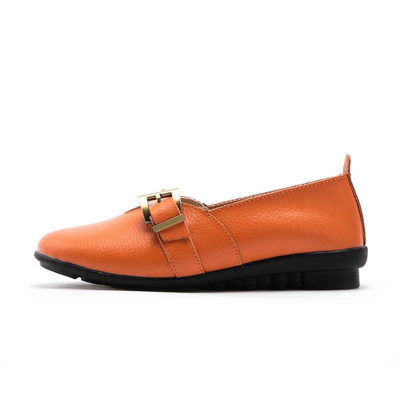 Zapatos planos de mujer de cuero genuino de marca FEVRAL zapatos de mujer de cuero casuales cómodos de diseño de hebilla de moda tamaño grande 35-44