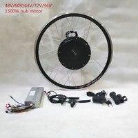 48 В/60 в/64 в/72 В/96 в 1500 Вт ebike концентратор велосипед с электродвигателем Conversion Kit для 26 Заднее колесо с цифровой дисплей дроссельной заслонки