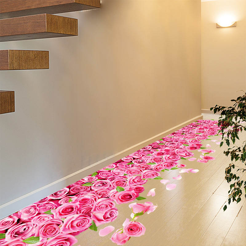Fashion Wall Stickers Romantic Pink Rose PVC Art Decals For Bathroom Bedroom Window Floor Sticker Home Decoration WXV Sale in Wall Stickers from Home Garden