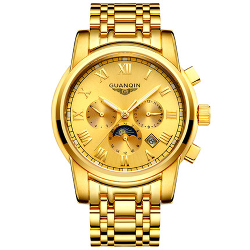 GUANQIN Luxury Men Gold Business Watch New Fashion Multifunctional Casual Clock Hour Male Full Steel Mechanical Wristwatch gift mike davis knight s microsoft business intelligence 24 hour trainer