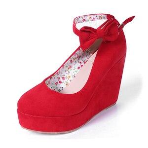 Image 3 - MCCKLE Women High Heels Shoes Plus Size Platform Wedges Female Pumps Womens Flock Buckle Bowtie Ankle Strap Woman Wedding Shoes