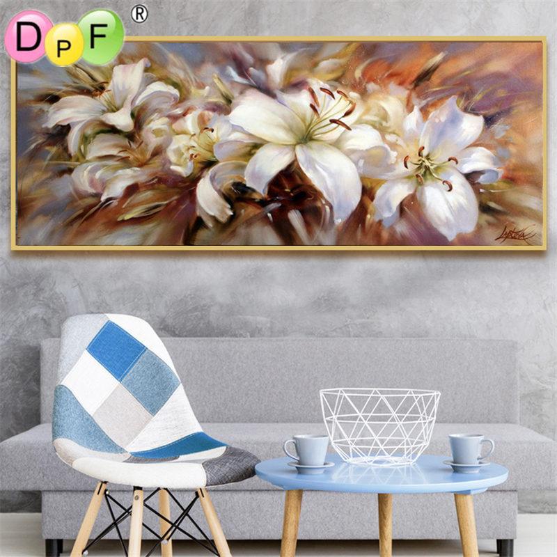 DPF 5D Rodada completa Pintura Diamante do Ponto da Cruz sonho lírio Crafts Diamante Bordados kits Needlework Home Decor imagem Mosaico