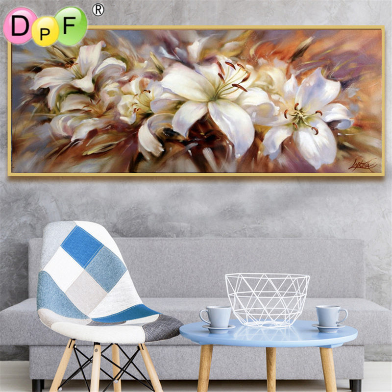 DPF 5D Round full Diamond Painting Cross Stitch dream lily Crafts Diamond Embroidery Mosaic Needlework kits Home Decor picture