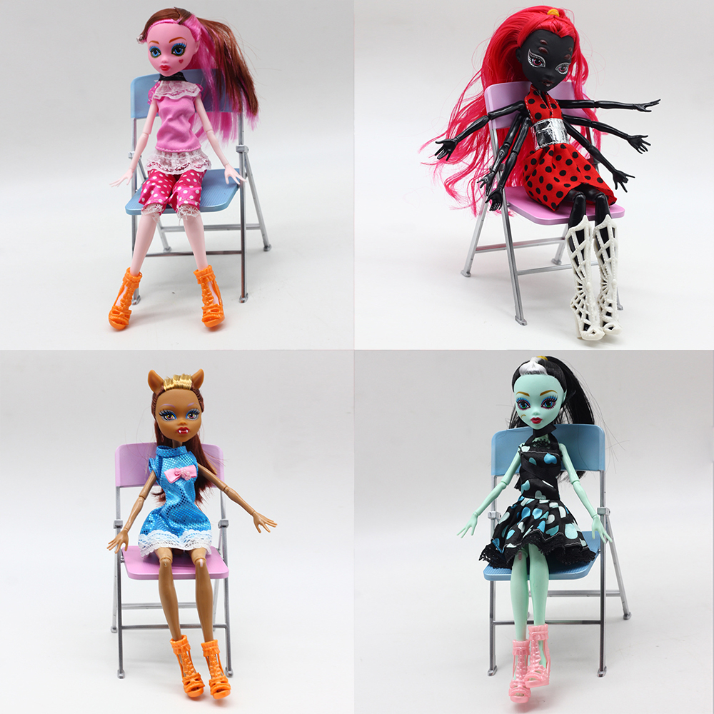 4pcs Dolls Monster Draculaura/Clawdeen Wolf/ Frankie Stein Moveable Joint Body High Quality Girls Plastic Classic Toys Gifts