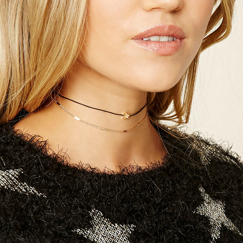 Newest fashion accessories Multiple layers alloy gold color chain with stars Tattoo choker necklace for couple lovers'N328