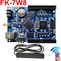 FK 7W8 wifi led control card network/USB PC/pad/Phone APP wireless full color p10,p4,p5,p6,p8 display led controller board