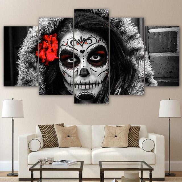 Modernes Dekor Leinwand Malerei Rahmen Wohnzimmer Wandkunst 5 Stücke  Abstrakte Schädel Gesicht Bilder HD Gedruckt Modulare