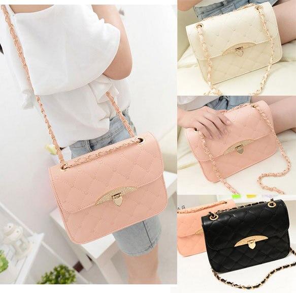 1pc Women Korean Style Celebrity Bags Rhinestone Buckles Pu Leather Handbags Cross Shoulder Bag