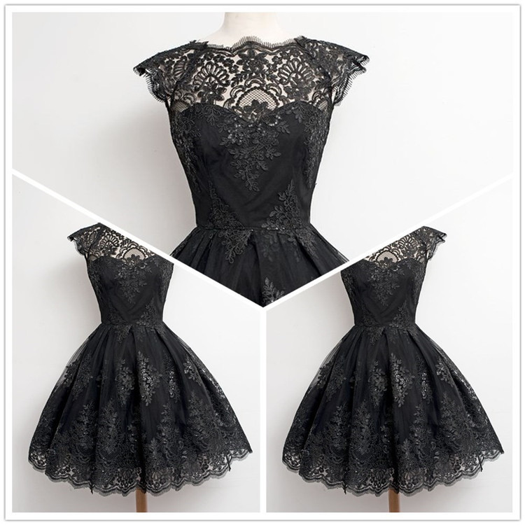 2018 Fashion High Waist Women Sweet Solid Black Elegant Lace Dress Big Swing Noble Ball Gown Tutu Dress Hollow Sexy Dresses