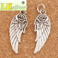 Angel Wing w/ Rose Spacer Charm Beads 30.3x10.7mm 15pcs Antique Silver Pendants Handmade Jewelry DIY T1625