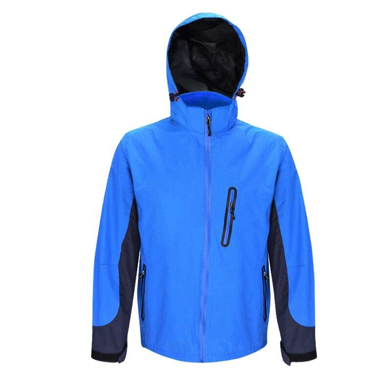 Hooded Waterproof Jacket Lightweight Windproof Rain Jacket Outerwear Blue Hiking Rain Coat with Multi-Pocket Mesh Lined New Soft