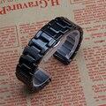 Чистый Черный Керамический Ремешок прямой конец fit Передач S3 22 мм часовые аксессуары браслеты ремешок 14 мм 16 мм 18 мм 19 мм 20 мм