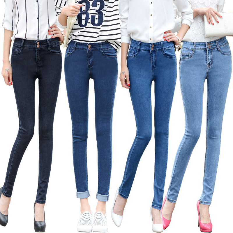 26-32 Autumn Fashion High Waist Jeans High Elastic Plus Size Women Jeans Woman Femme Washed Casual Skinny Pencil Denim Pants 26 32 autumn fashion high waist jeans
