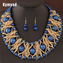 Kymyad Boutique Jewelry Sets For Women Gold Color African Beads Jewelry Set Party Accessories Necklace Earrings Set Wholesale