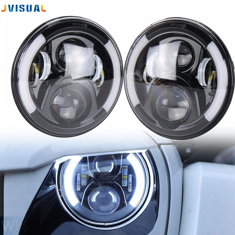 For Lada 4x4 urban Niva 7 black LED H4 headlight daymaker lamps headlamp for Jeep Wrangler JK TJ LJ Land Rover Defender 75w 5d 7 inch round led projector daymaker headlight for jeep wrangler jk land rover defender 90