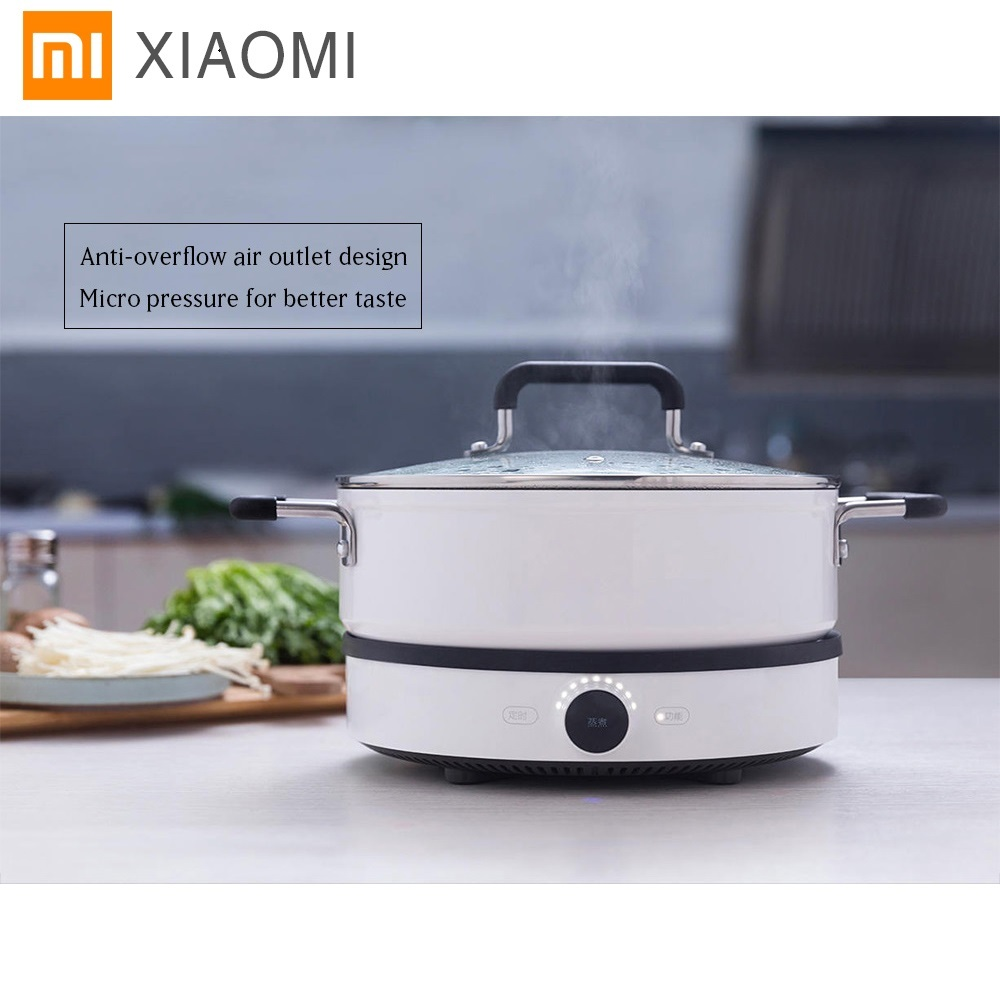 Original xiaomi Mijia Induction Cooker Mi home smart Creative Precise Control Induction Cooker with Mijia pot app Remote control 220v 600w 1 2l portable multi cooker mini electric hot pot stainless steel inner electric cooker with steam lattice for students