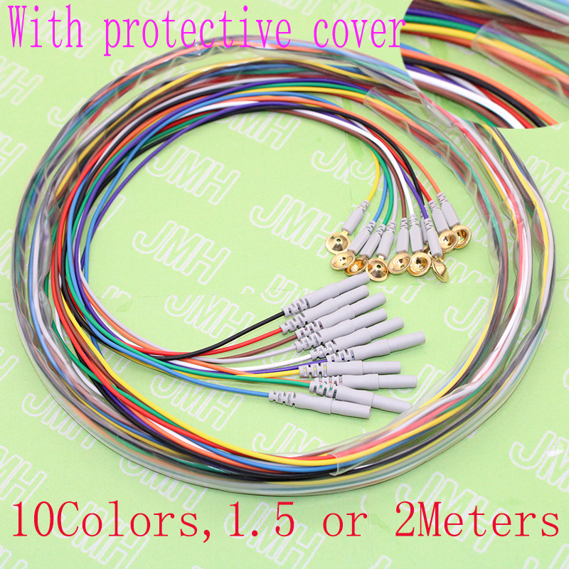 1.5 Or 2meters 10pcs 10color Eeg Line,Copper Plated Gold Din 1.5 Plug And Electrode Cap Sleep Brain EEG Cable