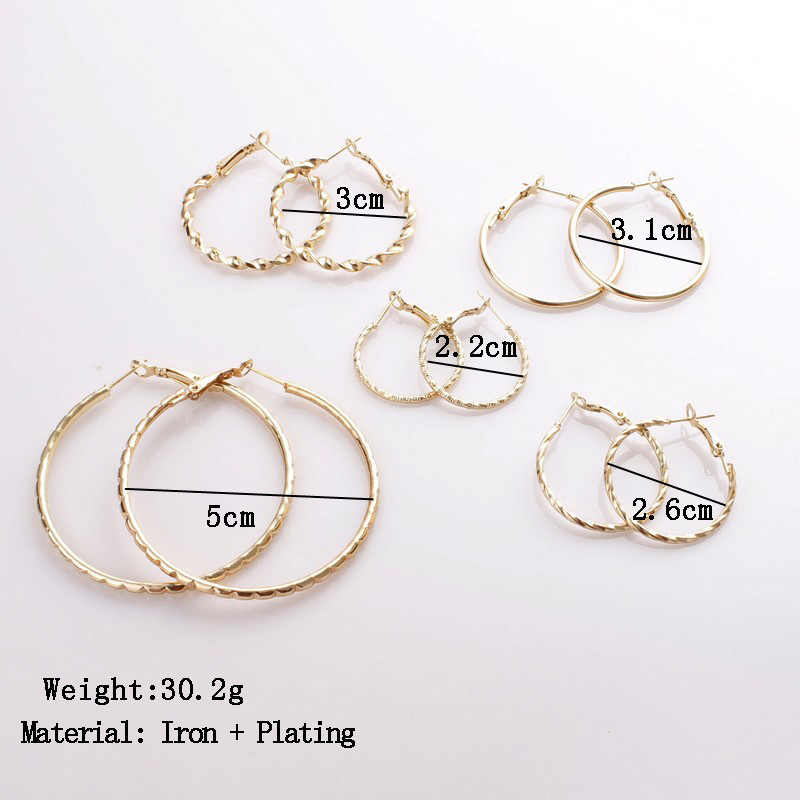 2019 New 5 Pairs/Set Earring Sets Women Big Circle Hanging Ear Studs Female Simple Dangler Girls Ear Pendant Jewelry