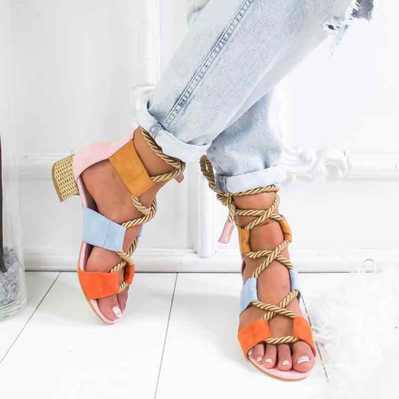 Yaz Kama Espadrilles 2019 Yeni Kadın Sandalet Topuk Sivri Balık Ağzı Gladyatör Sandalet Kenevir Halat Lace Up Platformu Sandalet