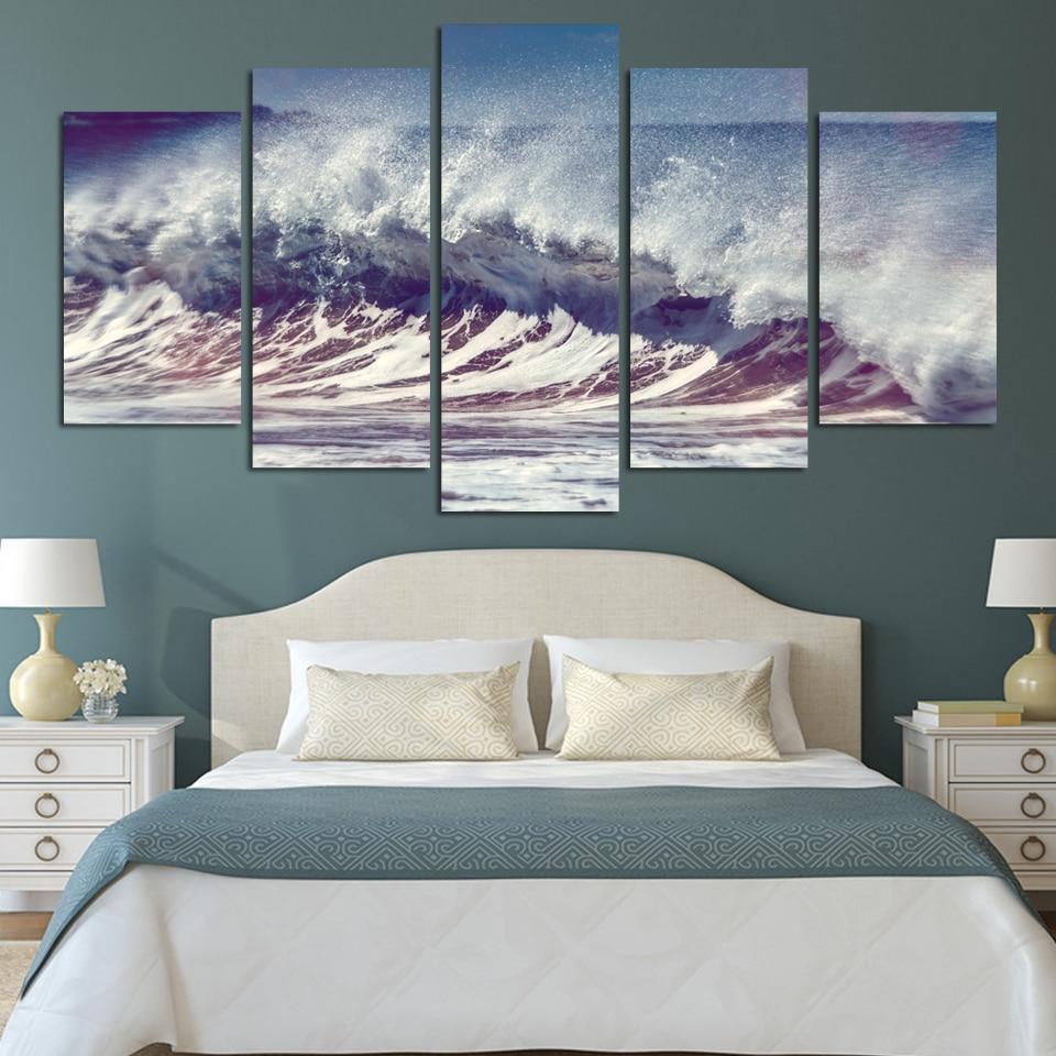 ②Cuadros 5 unids splendid onda mar pared moderna impresiones en ...