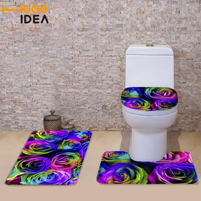 HUGSIDEA 3pcs / set Bilik mandi lembut boleh dibasuh tandas tempat - Barang dagangan isi rumah