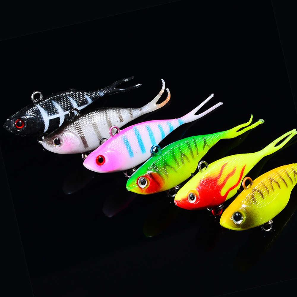 1 Cái/lốc 3D Mắt Dẫn Mồi Câu Cá Với Y Đuôi Mồi Câu Cá Mềm Móc Đơn Mồi Câu Mồi Giả Jig Wobblers cao Su 68 Mm/9G