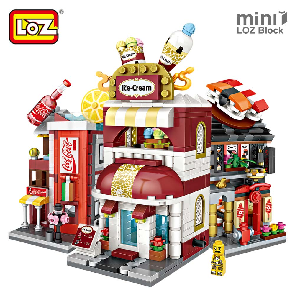 LOZ Mini Blocks Bricks City Series Mini Street View Model Store Shop Kid Assembly Architecture Building Blocks Toy for Children