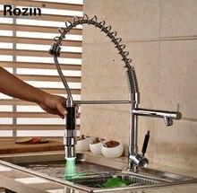 Home Decor Одной Ручкой Весна Кухонный Кран Hightening Свет Поворотный Двойной Носик Смесители Кухня
